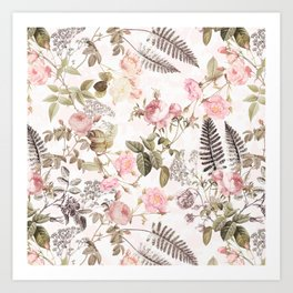 Vintage & Shabby Chic - Blush Roses and Fern Leaf Kunstdrucke
