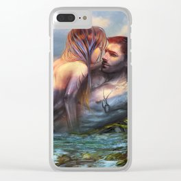 Take my breath away - Mermaid in love with soldier on the beach Clear iPhone Case