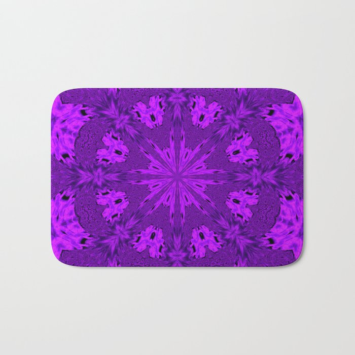 Peacock Double Kaleidoscope Purple Bath Mat