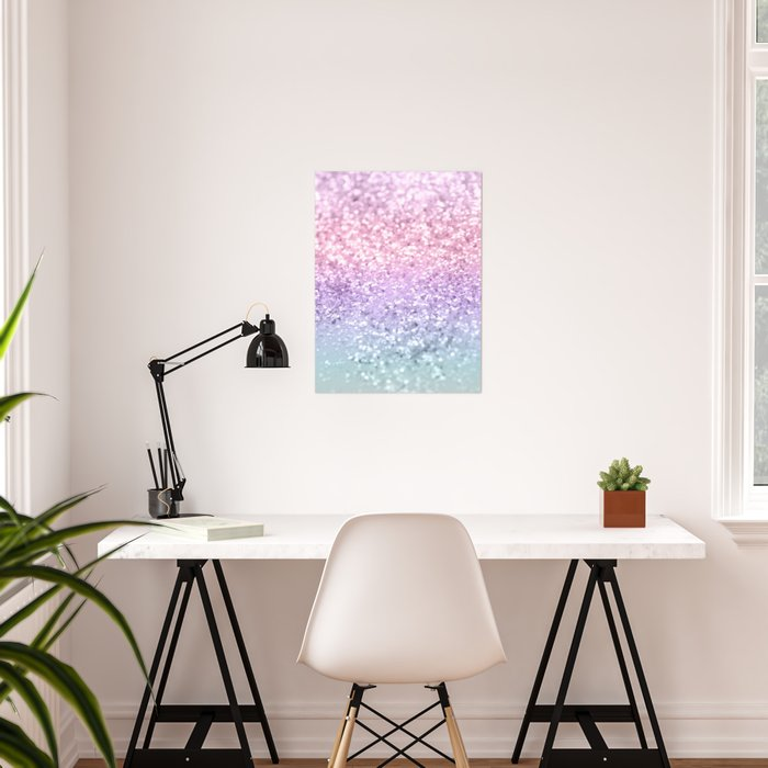 Unicorn Girls Glitter #1 #shiny #pastel #decor #art #society6 Poster