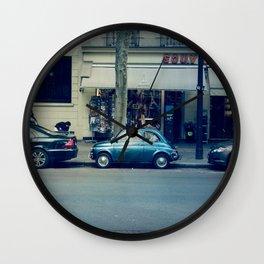 Parking in Paris isn't so hard...when you've got a tiny car! Wall Clock