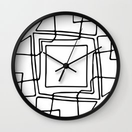 Decorative black and white abstract squares Wall Clock