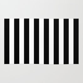 Classic Black and White Football / Soccer Referee Stripes Rug