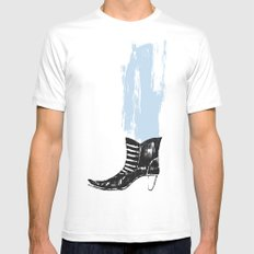 the boot goes on Mens Fitted Tee White MEDIUM