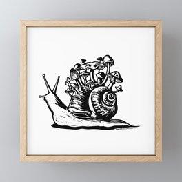 Mushroom Snail Linocut Framed Mini Art Print