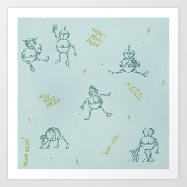 Robot Babies Captioned Art Print