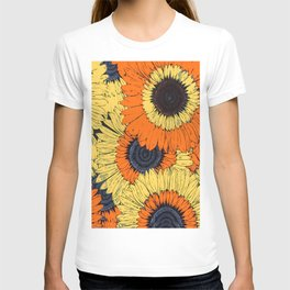 Abstracted Orange Yellow Deco Sunflowers T-shirt