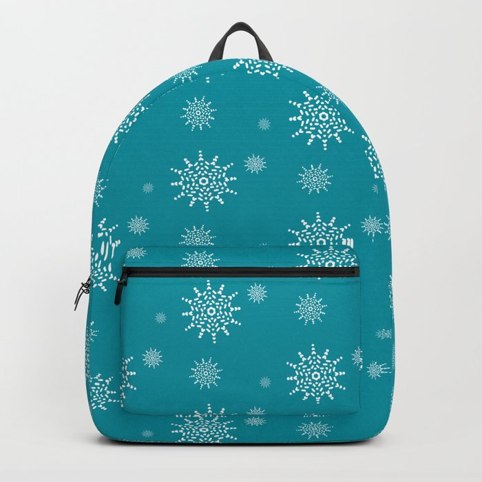 White Snowflakes on Turquoise Backpack