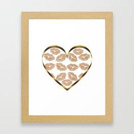 Rose Gold Lips Heart with Lips Framed Art Print