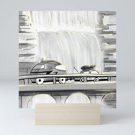 Camping Sunset Waterfall on a Mountain Road - Van Life - Travel Inspiration Mini Art Print