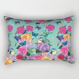 Bluetits and Blackbirds Rectangular Pillow