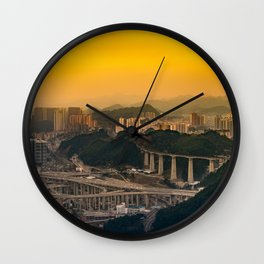 Guiyang China Cityscape at Sunset Wall Clock