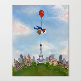 Guinea Pig With Balloon Over Paris, France Canvas Print