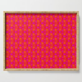 Chaotic pattern of pink rhombuses and orange pyramids. Serving Tray