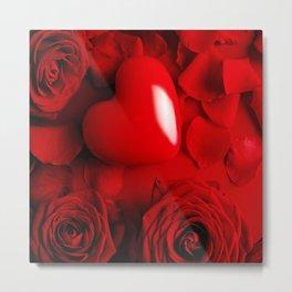 Red Love FLOWERS Metal Print
