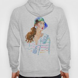 fashion #50: girl in a striped blouse and cap Hoody
