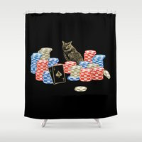 poker Shower Curtains featuring Poker Owl by October's Very Own