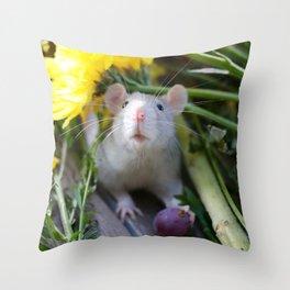 Floral Rat Throw Pillow