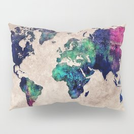 World map watercolor 1 Pillow Sham