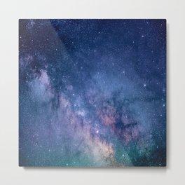 purple blue universe night sky stars galaxy Metal Print