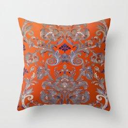 Painted Tibetan Brocade orange Throw Pillow