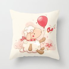 Sheep & Balloon Throw Pillow