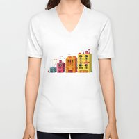 buildings V-neck T-shirts featuring Buildings by Luis Pinto