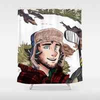 hockey Shower Curtains featuring Pond Hockey by Kana Aiysoublood