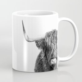 Highland Cow Portrait - Black and White Coffee Mug