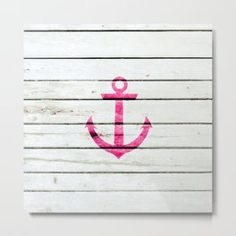Hipster Neon Pink Nautical Anchor Striped Wood Metal Print