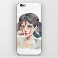 princess mononoke iPhone & iPod Skins featuring Princess Mononoke by Kazel