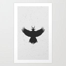 Viking Huginn and Muninn Under Cresent Moon Art Print