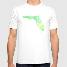 Typographic Florida - green watercolor White Mens Fitted Tee MEDIUM