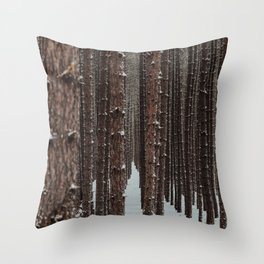 Michigan Winter Forest Throw Pillow