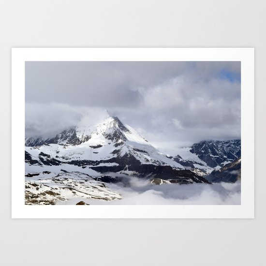 Mountain meets Clouds Art Print