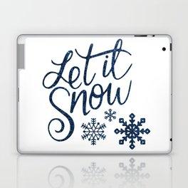 Let It Snow Blue Glitter Typography Winter Laptop & iPad Skin