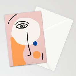 Abstract Art, Line Portrait, Matisse Picasso Style, Neutral Red Abstract Print, Line Drawing, Line D Stationery Cards