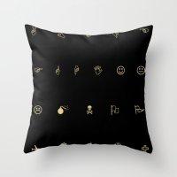 emoji Throw Pillows featuring EMOJI ART by Will Wilkinson