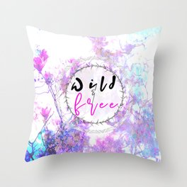 Pastel Marble Floral Wild and Free Throw Pillow