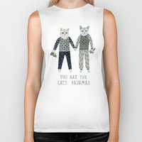 toddler Biker Tanks featuring You are the Cat's Pajamas by Yuliya