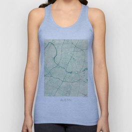 Austin Map Blue Vintage Unisex Tank Top