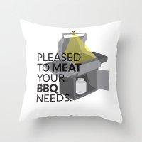 pun Throw Pillows featuring BBQ Pun by Robin Kurtz