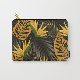 Original seamless tropical pattern with bright plants and leaves on a black background. Tropic leaves in bright colors. Seamless exotic pattern with tropical plants. Hawaiian style. Carry-All Pouch