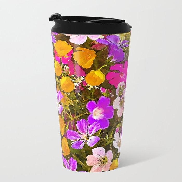 Colorful meadow flowers #Society6 #buyart Metal Travel Mug