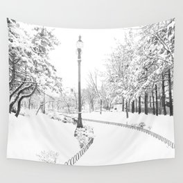 Winter snow city Wall Tapestry