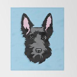 Black Scottie Dog on Blue Background Throw Blanket