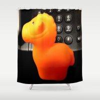 pony Shower Curtains featuring Phone Pony by Jeffrey J. Irwin