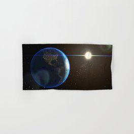 Night Lighted Earth from space Hand & Bath Towel