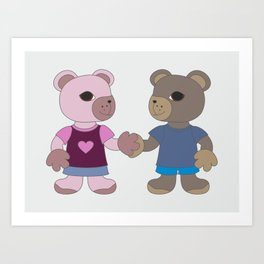 Two cute bears holding hands. Love and friendship illustration. Art Print