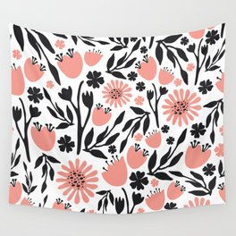 Floral Pattern Dark Gray and Light Coral Wall Tapestry